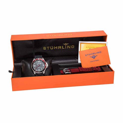 Stuhrling Mens Black Strap Watch-Sp14977