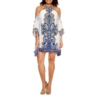 Bisou Bisou Cold Shoulder Trapeze Dress