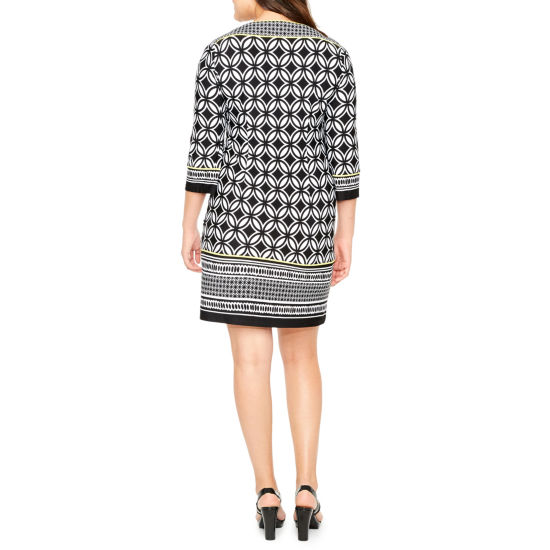 Studio 1 3/4 Sleeve Geometric Shift Dress