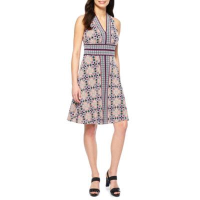Maggy London Intl Sleeveless Pattern Fit & Flare Dress