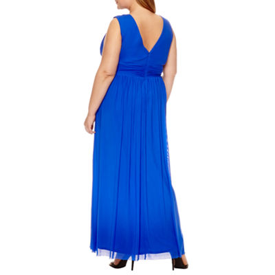 Blu Sage Sleeveless Mesh V Neck Gown - Plus