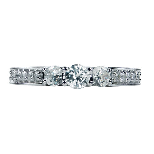 Womens 3/4 CT. T.W. Genuine Round White Diamond 14K Gold Engagement Ring