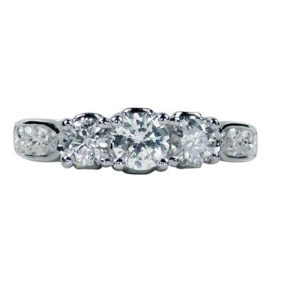 Womens 1 1/2 CT. T.W. Genuine White Diamond 14K Gold Engagement Ring