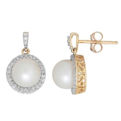Sofia Sofia 1/6 CT. T.W. Genuine White Cultured Freshwater Pearl 10K Gold 15.1mm Stud Earrings