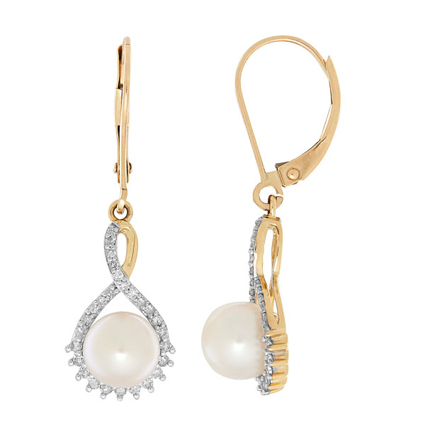 Sofia 1/5 CT. T.W. White Pearl 10K Gold Drop Earrings