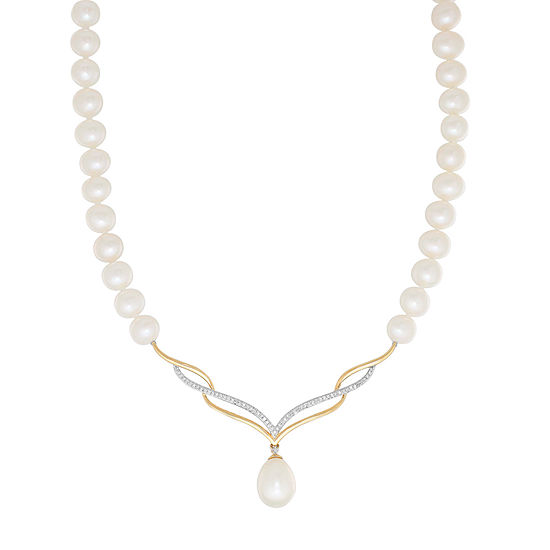 Sofia Womens 1/8 CT. T.W. Cultured Freshwater Pearl 10K Gold Pendant Necklace