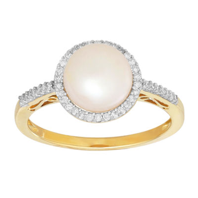 Sofia Womens 1/6 CT. T.W. Genuine White Cultured Freshwater Pearl 10K Gold Cocktail Ring
