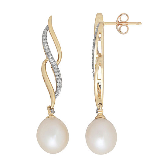 Cultured Freshwater Pearl & Diamond Accent 10K Gold Drop Earrings