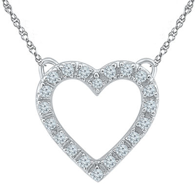 Womens 18 Inch 1/10 CT. T.W. White Diamond 10K Gold Link Necklace