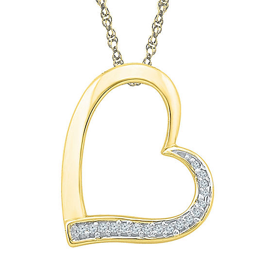 Womens 18 Inch Diamond Accent White Diamond 10K Gold Link Necklace