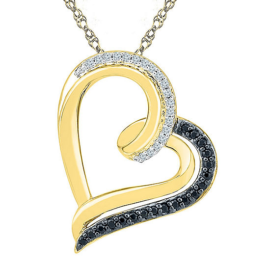 1/6 CT. T.W. White and Color Enhanced Black Diamond 10K Yellow Gold Heart Pendant Necklace
