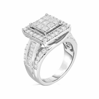 Womens 2 CT. T.W. Genuine Diamond 10K White Gold Engagement Ring