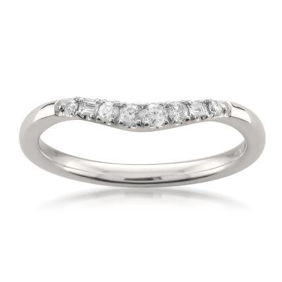 Womens 2mm 1/6 CT. T.W. Genuine White Diamond 14K Gold Wedding Band