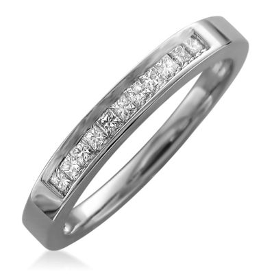 Womens 3mm 1/4 CT. T.W. Genuine White Diamond 14K Gold Wedding Band