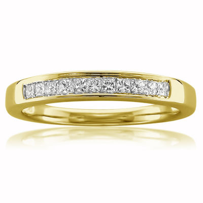Womens 3mm 1/4 CT. T.W. Genuine White Diamond 14K Gold Wedding Band