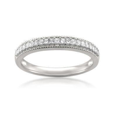 Womens 3MM 1/3 CT. T.W. Genuine White Diamond 14K Gold Wedding Band
