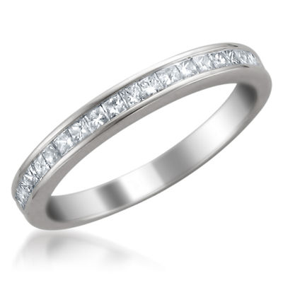 Womens 2.5mm 3/8 CT. T.W. Genuine White Diamond 14K Gold Wedding Band