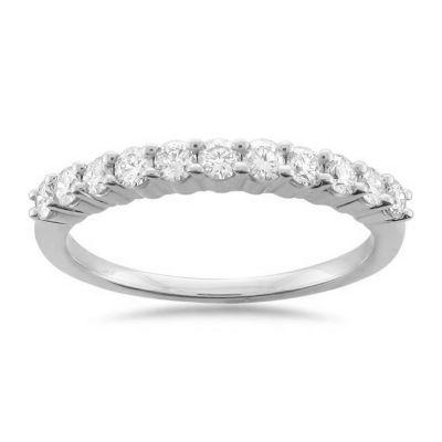 Womens 2mm 1/2 CT. T.W. Genuine White Diamond Platinum Wedding Band