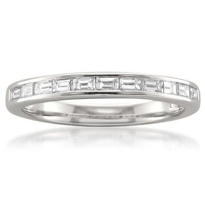 Womens 1/2 CT. T.W. Genuine White Diamond Platinum Wedding Band