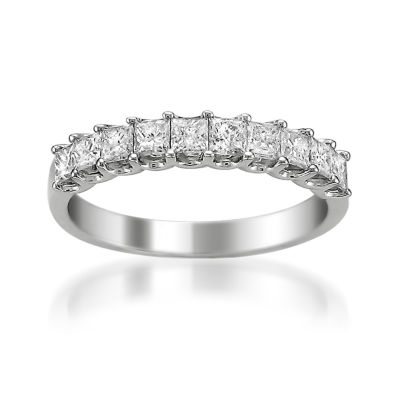 Womens 2mm 1 CT. T.W. Genuine White Diamond 14K Gold Wedding Band