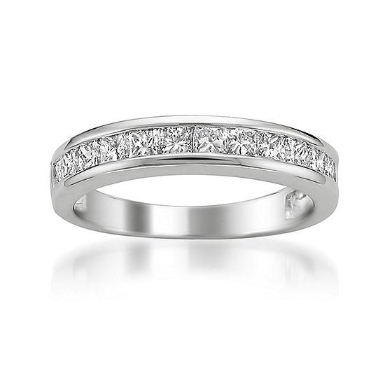 Womens 4MM 1 CT. T.W. Genuine White Diamond 14K Gold Wedding Band