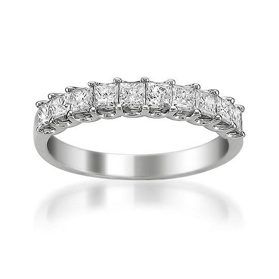 Womens 25mm 1 Ct Tw Genuine White Diamond Platinum Wedding Band
