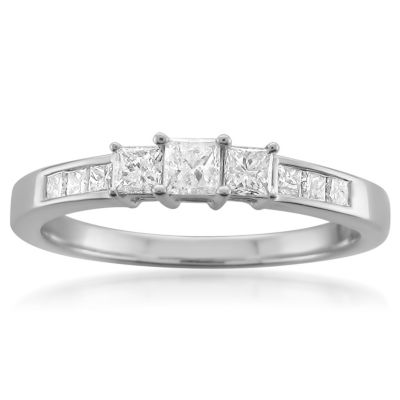 Womens 1/2 CT. T.W. Genuine White Diamond 14K Gold 3-Stone Ring