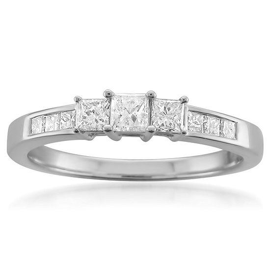 Womens 1/2 CT. T.W. Genuine White Diamond 14K Gold 3-Stone Engagement Ring
