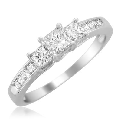 Womens 1 CT. T.W. Genuine Princess White Diamond 14K Gold 3-Stone Ring