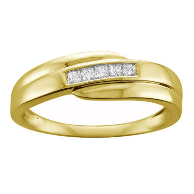 Mens 7mm 1/4 CT. T.W. Genuine White Diamond 14K Gold Wedding Band