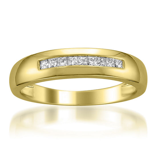 Mens 5MM 1/4 CT. T.W. Genuine White Diamond 14K Gold Wedding Band