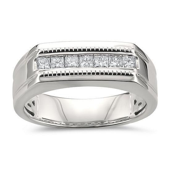Mens 7.5MM 1/2 CT. T.W. Genuine White Diamond 14K Gold Wedding Band