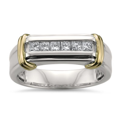 Mens 7mm 1/2 CT. T.W. Genuine White Diamond 14K Gold Wedding Band