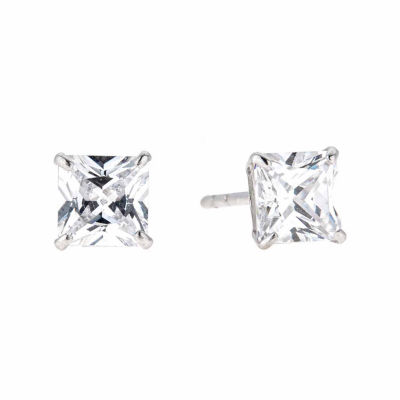 White Cubic Zirconia 14K Gold 5mm Stud Earrings