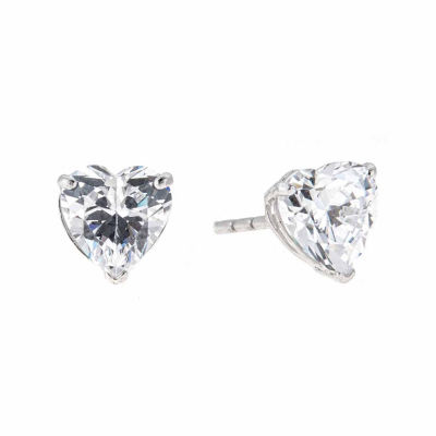 White Cubic Zirconia 14K Gold 6mm Stud Earrings