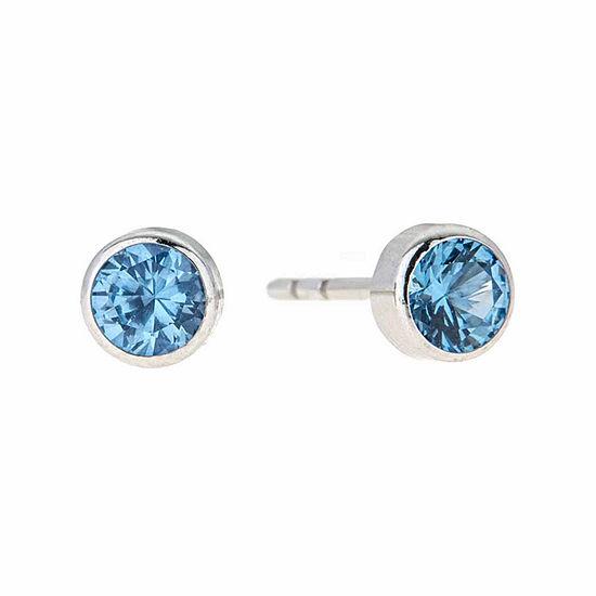 Blue Cubic Zirconia 14K Gold 4mm Stud Earrings