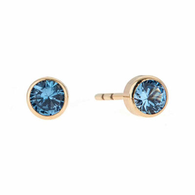 Blue Cubic Zirconia 14K Gold 4mm Stud Earrings
