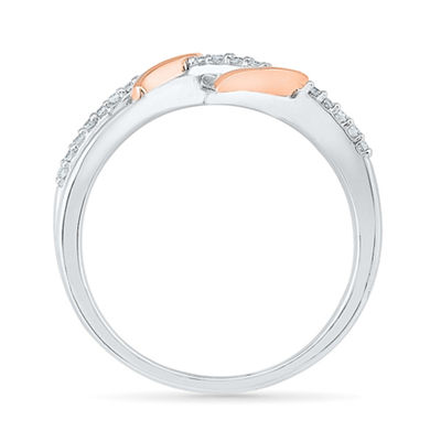 Womens 1/8 CT. T.W. Genuine White Diamond 10K Gold Over Silver Heart Cocktail Ring