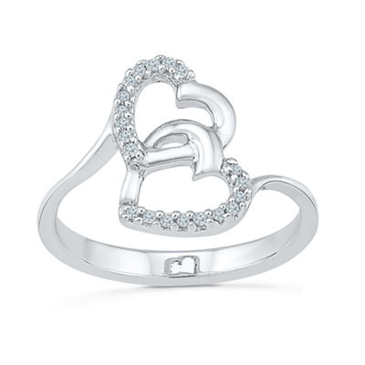 Womens Diamond Accent Genuine White Diamond Sterling Silver Heart Cocktail Ring