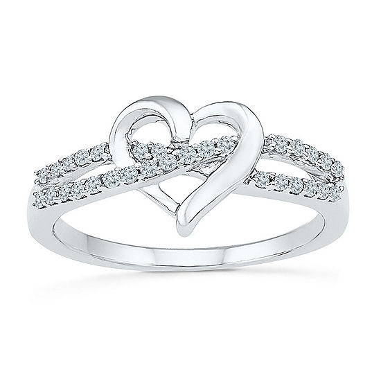 Womens 1 6 Ct Tw Genuine White Diamond Sterling Silver Heart Cocktail Ring
