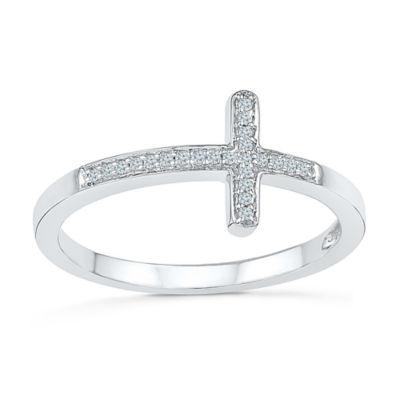 Womens Diamond Accent White Diamond Sterling Silver Delicate Ring