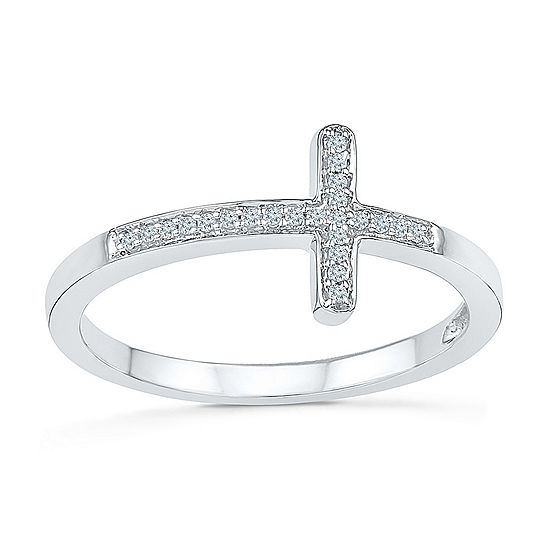 Womens Diamond Accent Genuine White Diamond Sterling Silver Cross Delicate Cocktail Ring
