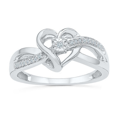 Womens Diamond Accent Genuine White Diamond Sterling Silver Heart Crossover Ring