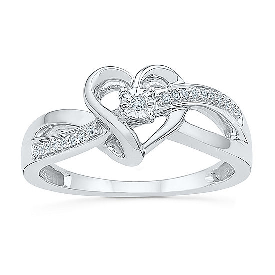 Womens Diamond Accent Genuine White Diamond Sterling Silver Heart Crossover Cocktail Ring