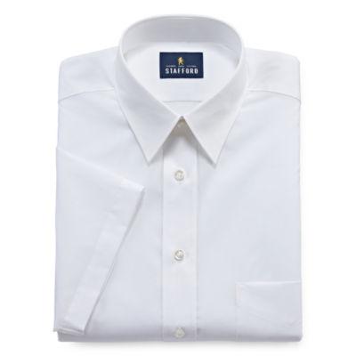 Stafford Travel Performance Super Shirt Short Sleeve Woven Dress Shirt - Fitted