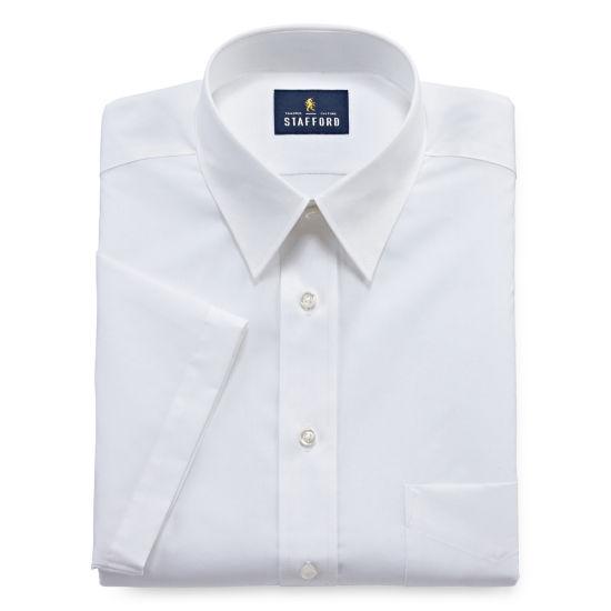 Stafford Travel Performance Super Shirt Short Sleeve Woven Dress Shirt Fitted Jcpenney