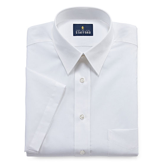 Stafford - Fitted Travel Performance Super Shirt Mens Short Sleeve Wrinkle Free Stain Resistant Dress Shirt
