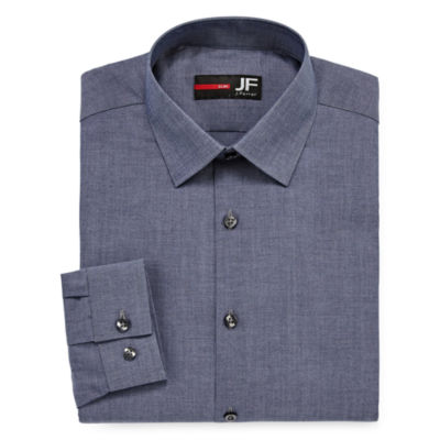 JF J.Ferrar Easy Care Stretch Long Sleeve Woven Pattern Dress Shirt