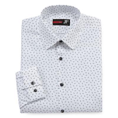JF J.Ferrar Easy Care Stretch Long Sleeve Woven Dots Dress Shirt