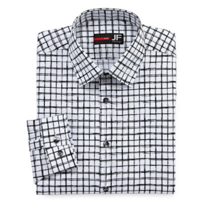 JF J.Ferrar Easy Care Stretch Long Sleeve Woven Checked Dress Shirt